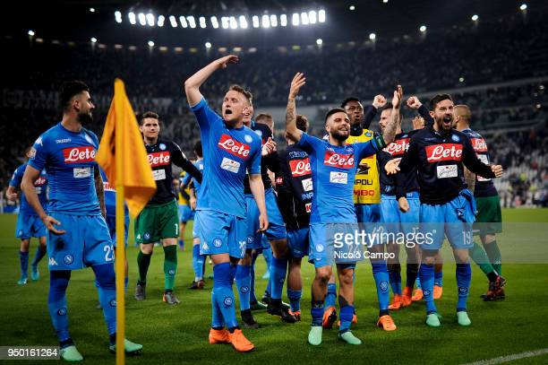 Players of SSC Napoli celebrate the victory at the end of the Serie A football match between Juventus FC and SSC Napoli SSC Napoli won 10 over...