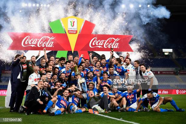 Players of SSC Napoli celebrate with the trophy during the awards ceremony at end of the Coppa Italia final football match between SSC Napoli and...