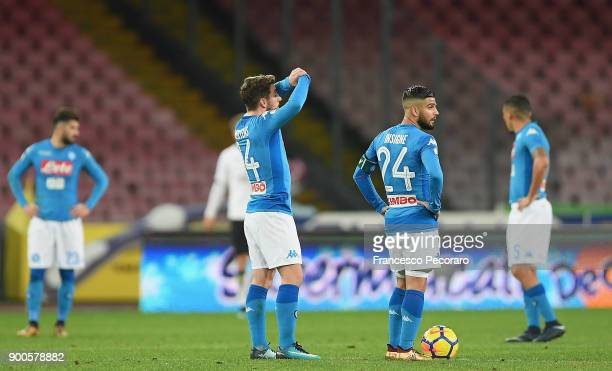 Players of SSC Napoli Dries Mertens Lorenzo Insigne stand disappointed after the 02 goal scored by Papu Gomez during the TIM Cup match between SSC...