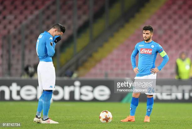 Players of SSC Napoli Jose Calleon and Lorenzo Insigne stand disappointed during UEFA Europa League Round of 32 match between Napoli and RB Leipzig...