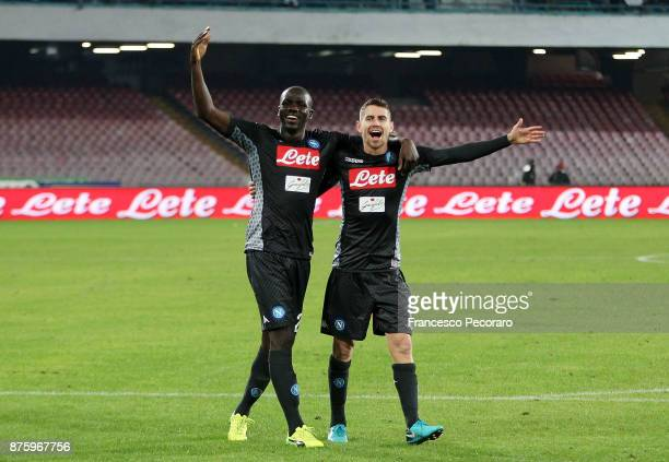 Players of SSC Napoli Kalidou Koulibaly and Jorginho celebrate the victory after the Serie A match between SSC Napoli and AC Milan at Stadio San...