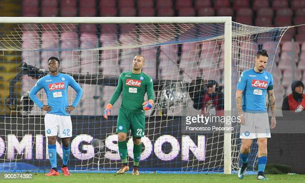 Players of SSC Napoli Marek Hamsik Luigi Sepe Amadou Diawara stand disappointed during the TIM Cup match between SSC Napoli and Atalanta BC on...