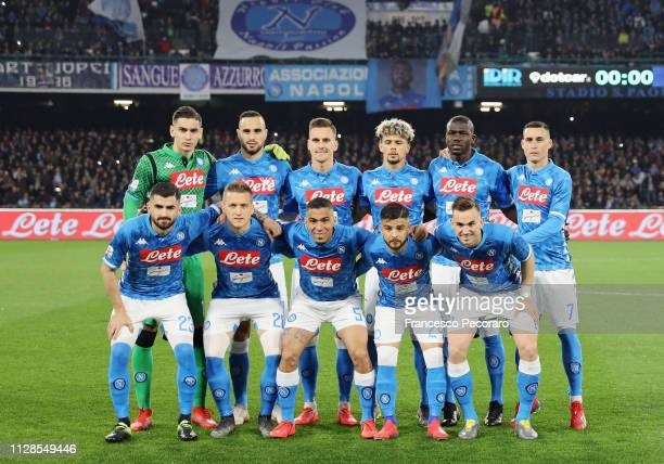 Players of SSC Napoli pose before the Serie A match between SSC Napoli and Juventus at Stadio San Paolo on March 3 2019 in Naples Italy