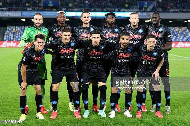 Players of SSC Napoli pose for a team photograph prior to the Serie A match between SSC Napoli and Bologna FC at Stadio Diego Armando Maradona on...