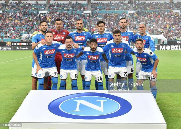 Players of SSC Napoli pose for the team photo prior to the preseason friendly match between FC Barcelona and SSC Napoli at Hard Rock Stadium on...