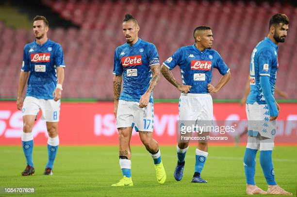 Players of SSC Napoli react during the Serie A match between SSC Napoli and AS Roma at Stadio San Paolo on October 28 2018 in Naples Italy