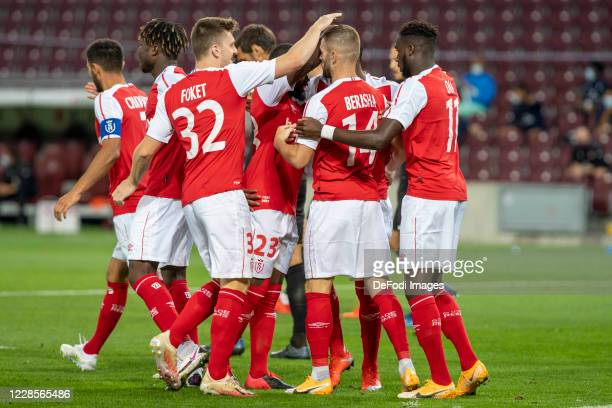Players of Stade de Reims celebrates after scoring his team's goal during the UEFA Europa League second qualifying round match between Servette FC...