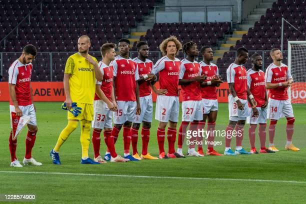 Players of Stade de Reims line up during the UEFA Europa League second qualifying round match between Servette FC and Stade de Reims at Stade de...