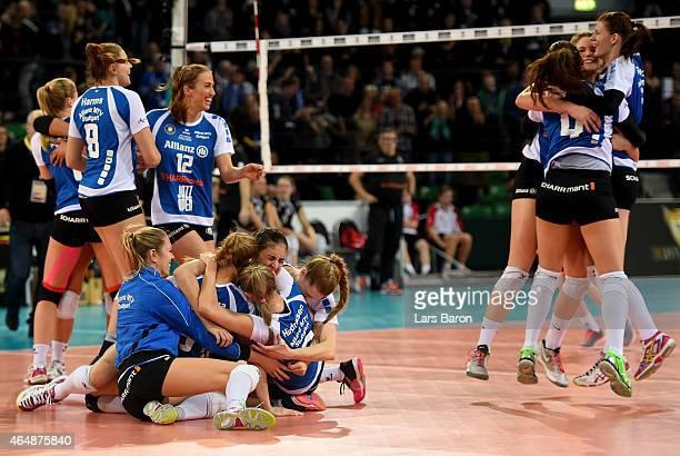 Players of Stuttgart celebrate after winning the German Women Cup Final between Ladies in Black Aachen and Allianz MTV Stuttgart at Gerry Weber World...