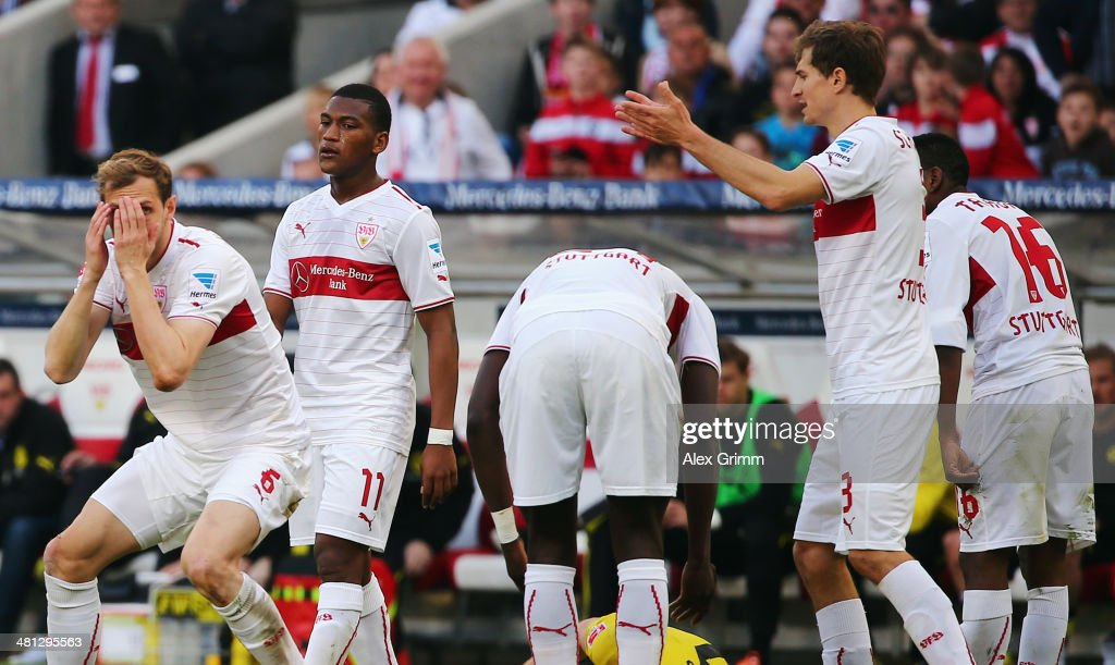 Players of Stuttgart react during the Bundesliga match between VfB Stuttgart and Borussia Dortmund at Mercedes-Benz Arena on March 29, 2014 in Stuttgart, Germany.