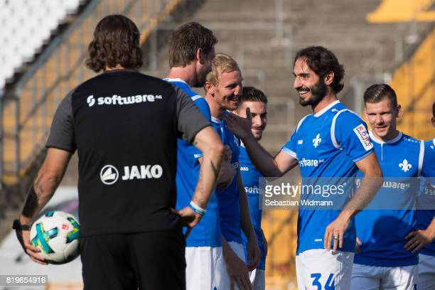 Players of SV Darmstadt 98 greet Hamit Altintop during the team presentation at MerckStadion am Boellenfalltor on July 20 2017 in Darmstadt Germany