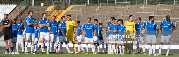 Players of SV Darmstadt 98 stand on the pitch during the team presentation at MerckStadion am Boellenfalltor on July 20 2017 in Darmstadt Germany