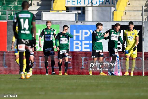 Players of SV Guntamatic Ried celebrate after scoring a goal at the tipico Bundesliga match between SV Guntamatic Ried and spusu SKN St. Poelten at...