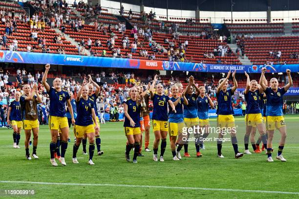 Players of Sweden acknowledge the fans at the end of the 2019 FIFA Women's World Cup France Quarter Final match between Germany and Sweden at Roazhon...