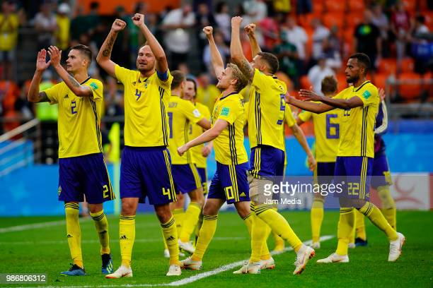 Players of Sweden celebrate after winning the 2018 FIFA World Cup Russia group F match between Mexico and Sweden at Ekaterinburg Arena on June 27...