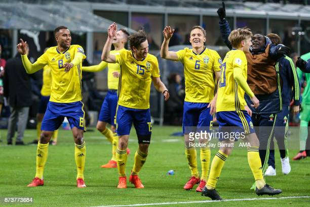 Players of Sweden celebrate during the FIFA 2018 World Cup Qualifier PlayOff Second Leg between Italy and Sweden at San Siro Stadium on November 13...