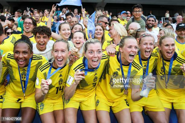 Players of Sweden celebrate the victory after the 2019 FIFA Women's World Cup France 3rd Place Match match between England and Sweden at Stade de...