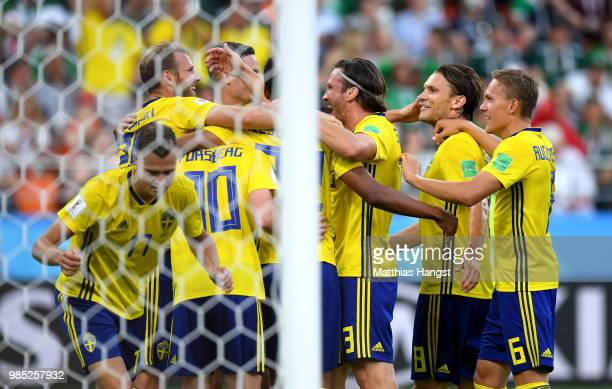 Players of Sweden celebrate their team's third goal an own goal scored by Edson Alvarez of Mexico during the 2018 FIFA World Cup Russia group F match...