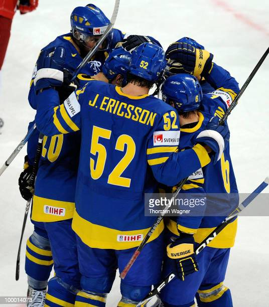 Players of Sweden celebrates after Marcus Nilson scores the 10 during the IIHF World Championship quarter final match between Sweden and Denmark at...