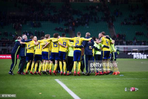 Players of Sweden celebrates after the FIFA 2018 World Cup Qualifier PlayOff Second Leg between Italy and Sweden at San Siro Stadium on November 13...