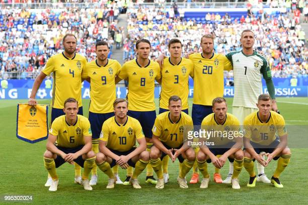 Players of Sweden line up for team photos prior to the 2018 FIFA World Cup Russia Quarter Final match between Sweden and England at Samara Arena on...