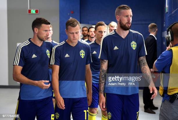 Players of Sweden make their way on the pitch prior to the 2018 FIFA World Cup Russia group F match between Sweden and Korea Republic at Nizhniy...