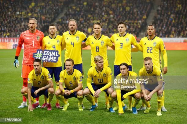 Players of Sweden National team during UEFA EURO 2020 Qualifiers match - Sweden v Spain at Friends Arena on October 15 in Stockholm, Sweden.