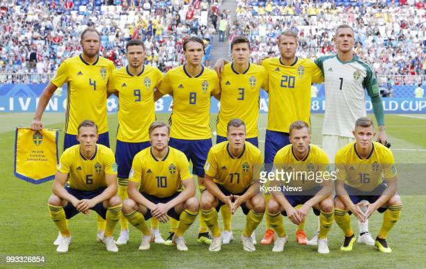 Players of Sweden pose ahead of a World Cup quarterfinal against England in Samara Russia on July 7 2018 ==Kyodo