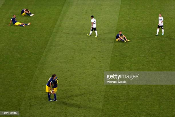 players of Sweden show their dejection following the 2018 FIFA World Cup Russia group F match between Germany and Sweden at Fisht Stadium on June 23...