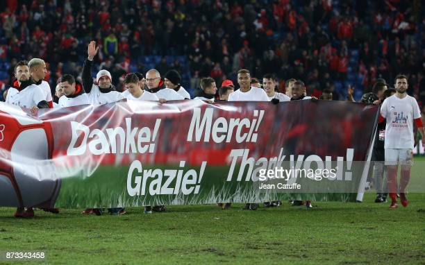 Players of Switzerland celebrate the qualification for Russia following the FIFA 2018 World Cup Qualifier PlayOff Second Leg between Switzerland and...