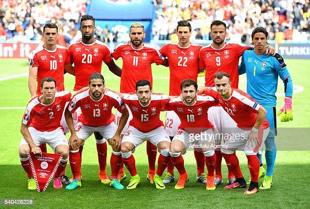 Players of Switzerland pose for a photo before the UEFA Euro 2016 Group A match between Romania and Switzerland at the Parc des Princes in Paris...