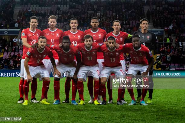 Players of Switzerland pose for the team picture before the UEFA Euro 2020 qualifier between Switzerland and Republic of Ireland on October 15 2019...