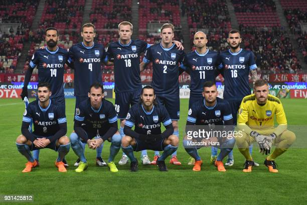 Players of Sydney FC pose for photograph prior to the AFC Champions League Group H match between Kashima Antlers and Sydney FC at Kashima Soccer...