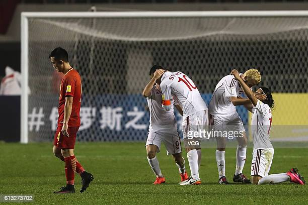 Players of Syria celebrate after the 2018 World Cup qualifying group A match between China and Syria at Shanxi Stadium on October 6 2016 in Xi'an...