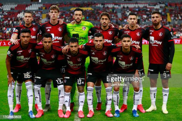 Players of team Atlas pose prior the 7th round match between Atlas and Pachuca as part of the Torneo Clausura 2020 Liga MX at Jalisco Stadium on...