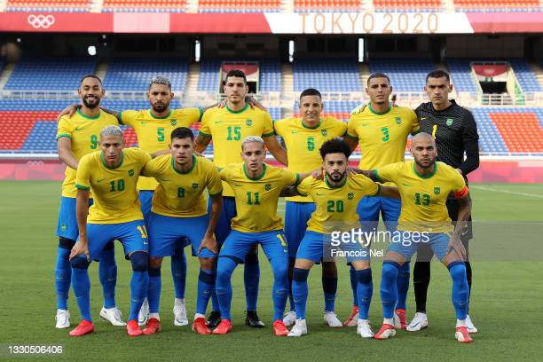 Players of Team Brazil pose for a team photograph prior to during the Men's First Round Group D match between Brazil and Cote d'Ivoire on day two of...