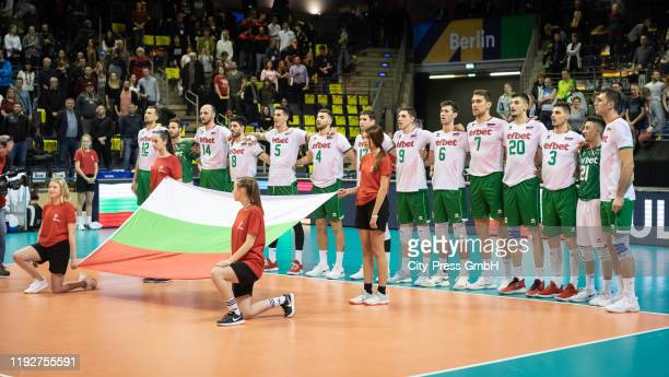 Players of team Bulgaria during the Volleyball European Qualification match between Bulgaria and Germany at MaxSchmelingHalle on January 9 2020 in...