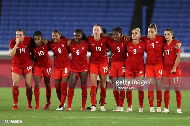 Players of Team Canada watch on during the penalty shoot out in the Women's Gold Medal Match between Canada and Sweden on day fourteen of the Tokyo...