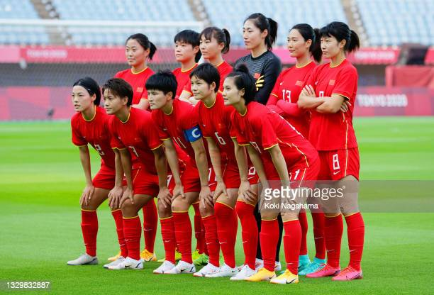 Players of Team China pose for a team photograph prior to the Women's First Round Group F match between China and Brazil during the Tokyo 2020...