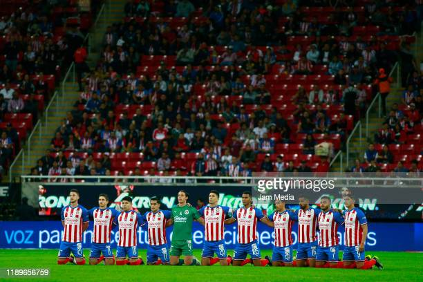 Players of team Chivas during the ceremony previous the 19th round match between Chivas and Veracruz as part of the Torneo Apertura 2019 Liga MX at...