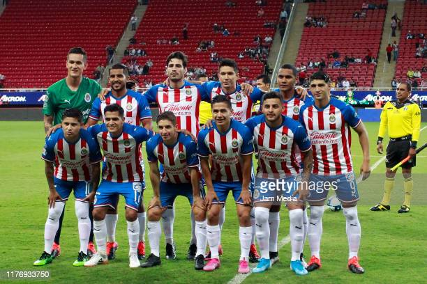 Players of team Chivas pose during the 11th round match between Chivas and Pachuca as part of the Torneo Apertura 2019 Liga MX at Akron Stadium on...