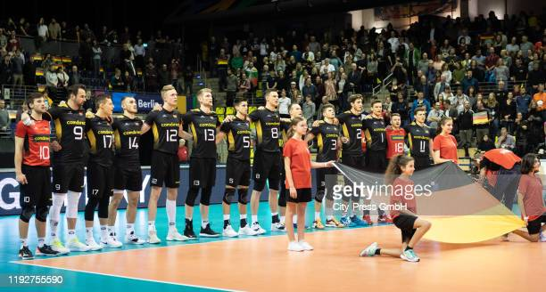 players of team Germany during the Volleyball European Qualification match between Bulgaria and Germany at MaxSchmelingHalle on January 9 2020 in...