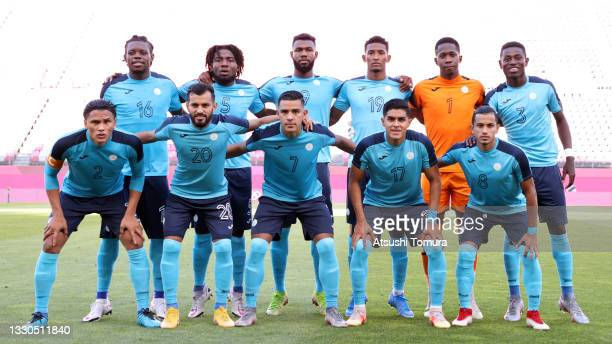 Players of Team Honduras pose for a team photograph prior to the Men's First Round Group B match between New Zealand and Honduras on day two of the...