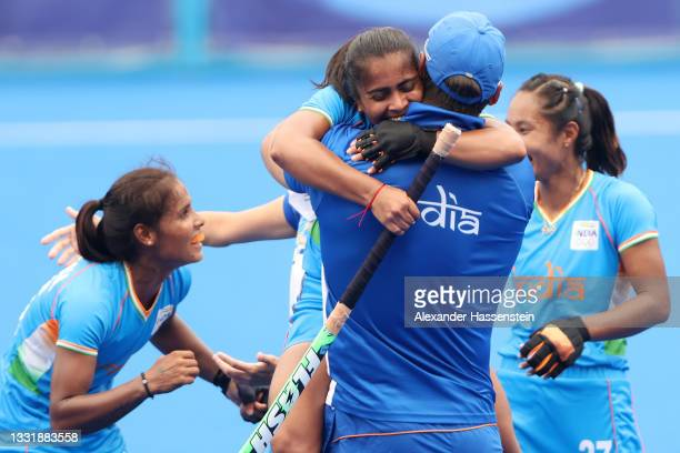 Players of Team India celebrate their 1-0 win after the Women's Quarterfinal match between Australia and India on day ten of the Tokyo 2020 Olympic...