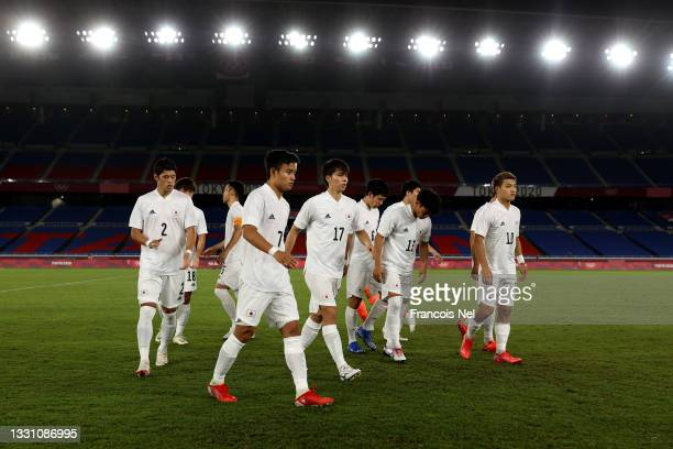 Players of Team Japan after posing for a team photo prior to the Men's Group A match between France and Japan on day five of the Tokyo 2020 Olympic...