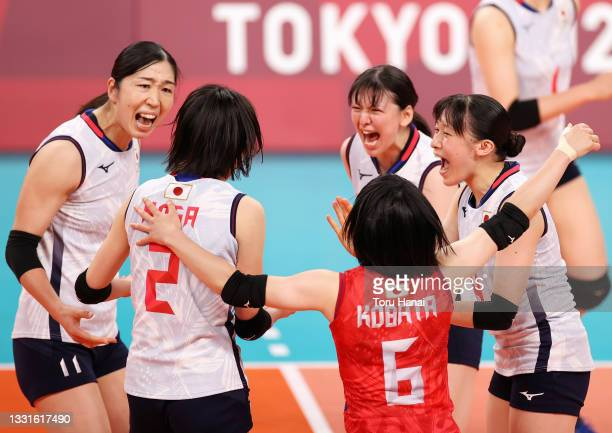 Players of Team Japan react against Team South Korea during the Women's Preliminary - Pool A volleyball on day eight of the Tokyo 2020 Olympic Games...