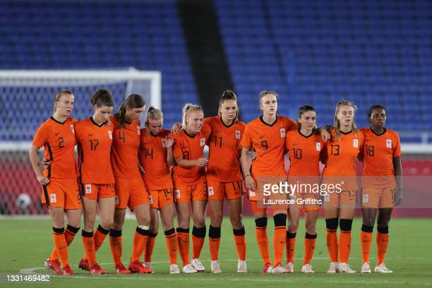 Players of Team Netherlands react during the penalty shoot out during the Women's Quarter Final match between Netherlands and United States on day...