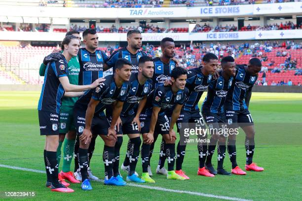 Players of team Queretaro pose before the 7th round match between Queretaro and Atletico San Luis as part of the Torneo Clausura 2020 Liga MX at La...