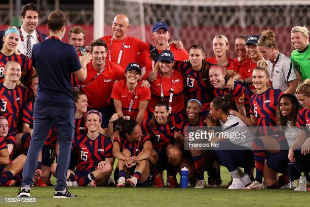 Players of Team United States pose for a photograph following victory in the Women's Bronze Medal match between United States and Australia on day...