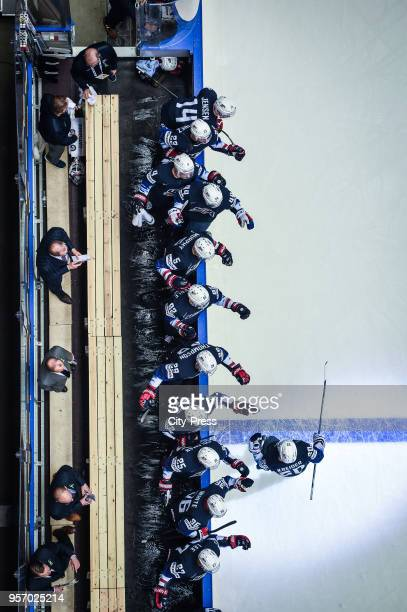 Players of Team USA celebrates the goal during the IIH World Championship game between USA and Latvia at Jyske Bank Boxen Arena on May 10 2018 in...